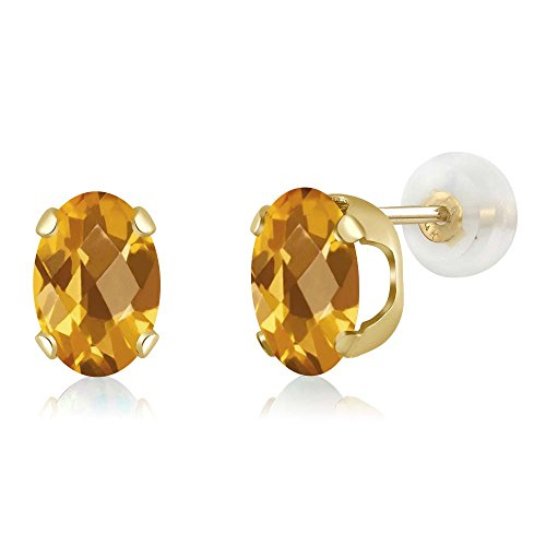 1.40 Ct Oval Checkerboard 7x5mm Yellow Citrine 14K Yellow Gold Stud (Antique Citrine Earrings)