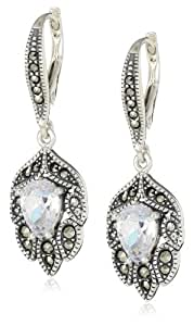 """Judith Jack """"Holiday Glamour"""" Sterling Silver, Marcasite and Cubic Zirconia Vintage Drop Earrings"""