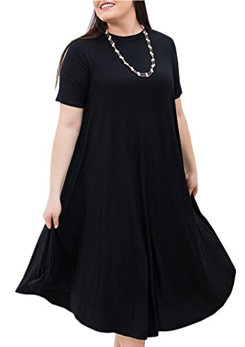Yobecho Womens Short Sleeve Round Neck Loose Plain Casual Plus Size Long Maxi T-Shirt Dress