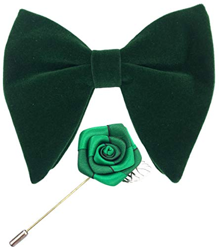 Mens Pre-Tied Oversized Velvet Bow Tie with Flower Lapel Pin Brooch for Suit Wedding Tuxedo Bowtie Set (Green)