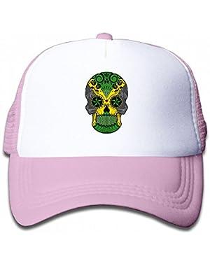 Jamaican Floral Sugar Skull Youth Toddler Mesh Hats Kid Baseball Trucker Cap