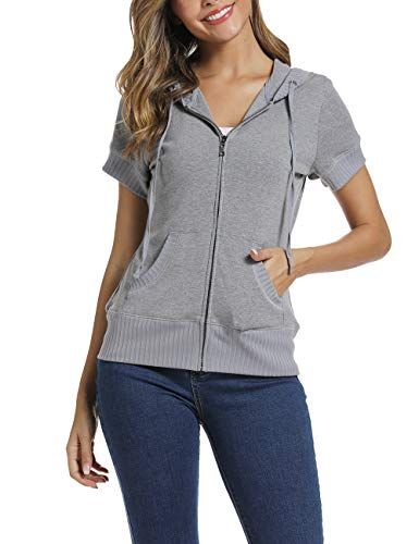 MISS MOLY Short Sleeve Jackets for Women Basic Hoodie Zip up Knit Sweatshirt Summer Lightweight Coat Light Grey (Best Hoodies For Summer)