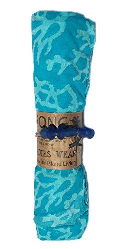 - West Indies 100% Pure Cotton Sarong Pareo Swimsuit Bikini Cover-Up Beach Cruise Resort Island Wear (Coral Aqua)