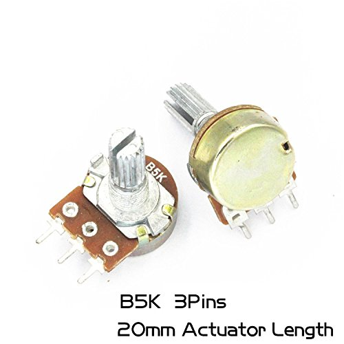 10Pcs Single couplet Rotary Potentiometer (mono) 3Pins WH148 20mm Actuator Length 5K B5K Variable Resistors Side Adjustment Rheostats Volume Control