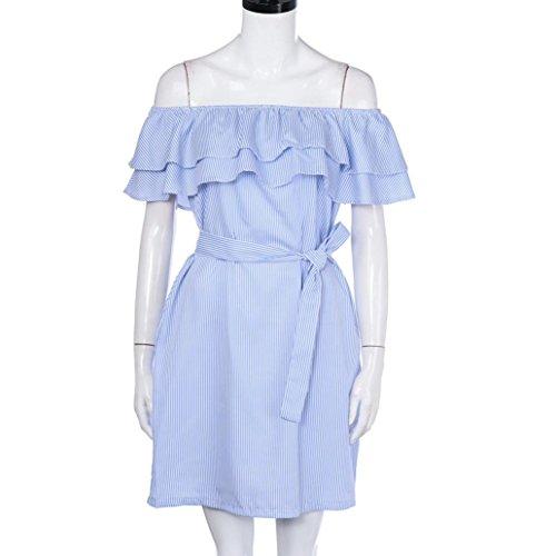 vestidos de mujer,Switchali MujerVeranorayas Fuera del hombro Vestido de volantesCon cinturón Traje de fiesta cóctel casual mujer ropa Azul