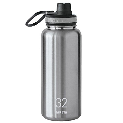 Takeya ThermoFlask Insulated Stainless Steel Water Bottle, 32 oz, Steel