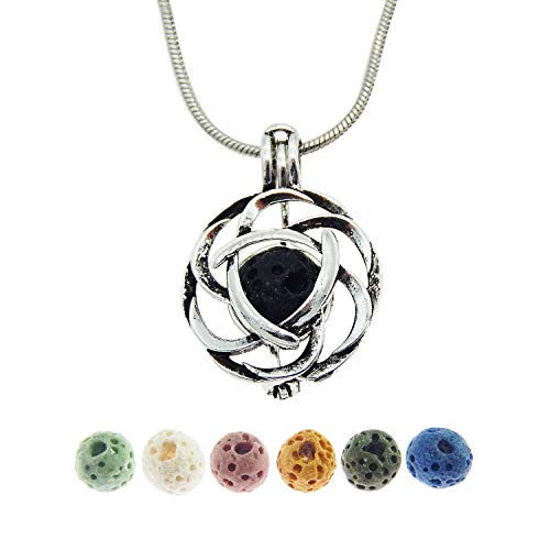 Julie Wang Lava Stone Celtic Knot Minimalist Essential Oil Diffuser Necklace Antique Silver Aromatherapy Necklace Jewelry
