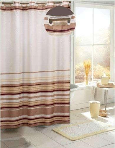Amazon Carnation Home Fashions EZ On Fabric Shower Curtain Brown Stripes Kitchen