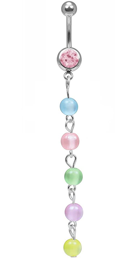 Pastel Dawn Belly Button Ring-Multi Color Long Dangle Belly Ring-14g 3//8 Navel Body Jewelry-Pink