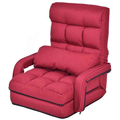 Folding Lazy Sofa Floor Chair Sofa Lounger Bed with Armrests and a Pillow Red Louis Xvi Settee