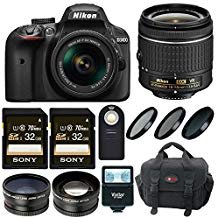 Nikon D3400 DSLR Camera with 18-55 Lens and 64GB Kit + Flash, Filters and ()