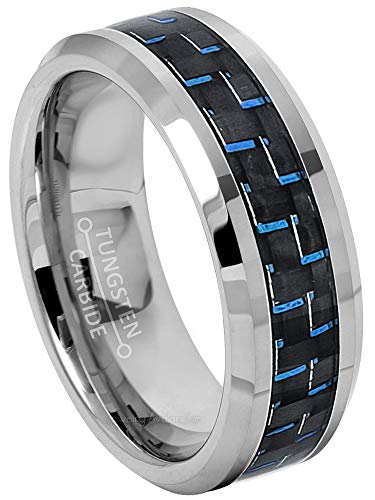 (Jewelry Avalanche 8mm Tungsten Ring, Polished Comfort Fit Tungsten Carbide Ring w/Blue & Black Carbon Fiber Inlay, Men's Tungsten Wedding Band -)