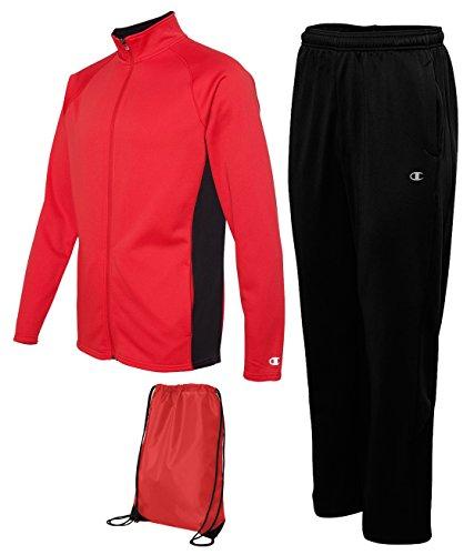 Champion Men's Performance Tracksuit, X-Large, Scarlet/Black (Men Champion Sweatsuits compare prices)