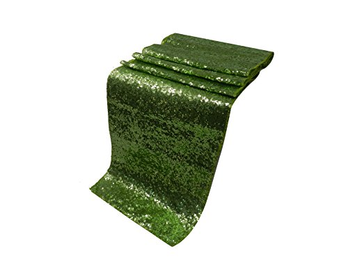 Liva Home Pack Of 15 Wedding 13 x 108 inch Sequin Table Runner Wedding Banquet Decoration (15, LIME-GREEN) by Liva Home