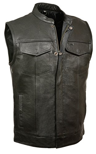 Milwaukee Leather Men's Open Neck Snap/Zip Front Club Style Vest (Black, - Domain Austin Shops