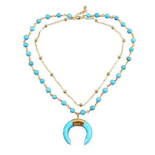 (ZENGORI 1 Pcs Gold Plated Blue Howlite Turquoise Crescent Horn Pendant Layer Necklace)