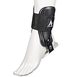 Active Ankle T2 Ankle Brace, Rigid Ankle Stabilizer for Protection & Sprain Support for Volleyball, Cheerleading, Ankle Braces to Wear Over Compression Socks or Sleeves for Stability, Black, Large
