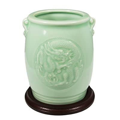 Wrapables Gifts and Decor Chinese Dragon and Phoenix Celadon Ceramic Vase, 4.5-Inch - Comes with a stand Clear celadon-colored glazed ceramic vase with intricate dragon and phoenix design Dimensions: Vase stands 4.5 Inch tall; Diameter of mouth is 2.5 Inch - vases, kitchen-dining-room-decor, kitchen-dining-room - 41VGF0Sbr4L. SS400  -