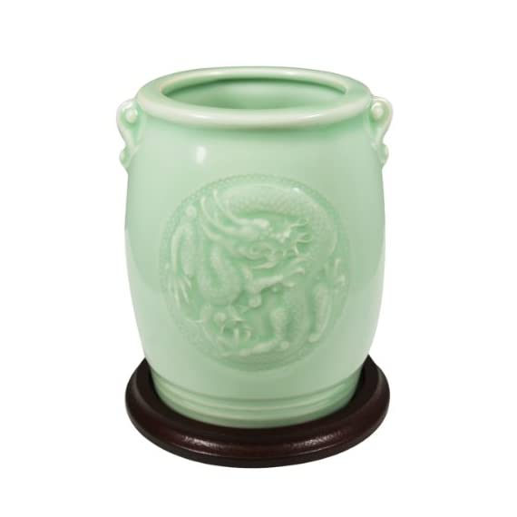 Wrapables Gifts and Decor Chinese Dragon and Phoenix Celadon Ceramic Vase, 4.5-Inch - Comes with a stand Clear celadon-colored glazed ceramic vase with intricate dragon and phoenix design Dimensions: Vase stands 4.5 Inch tall; Diameter of mouth is 2.5 Inch - vases, kitchen-dining-room-decor, kitchen-dining-room - 41VGF0Sbr4L. SS570  -