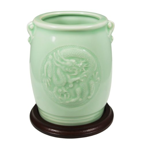 Wrapables Gifts and Decor Chinese Dragon and Phoenix Celadon Ceramic Vase, 4.5-Inch]()