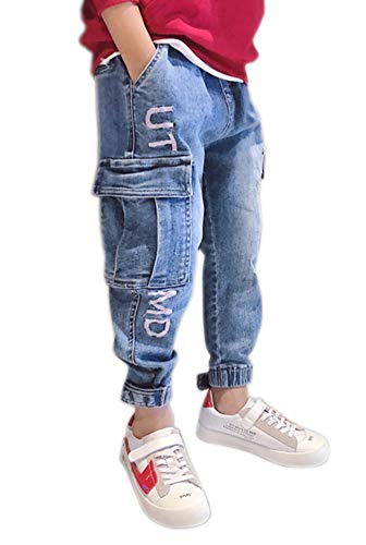 Kihatwin Big Boy's Casual Skinny Ripped Jeans Slim Fit Distressed Zipper Pants with Holes (14 Slim, Blue Loose Style)