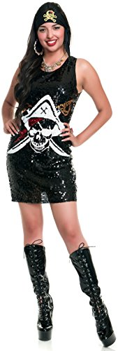 Charades Women's Swashbuckler Sequin Pirate Costume Dress, As Shown, X-Large ()