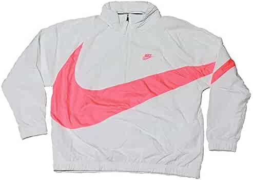 b32232233fd Nike Men's Sportswear Casual Nylon Quarter Zip Anorak Track Jacket White  Pink AJ1404 122