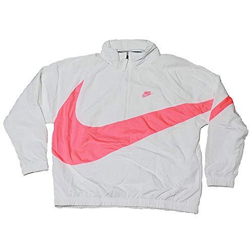 Nike Men's Sportswear Casual Nylon Quarter Zip Anorak Track Jacket White Pink AJ1404 122 (m)