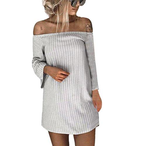 Spbamboo Women Autumn Winter Pullover Long Sleeve Striped Slash Neck Mini Dress by Spbamboo