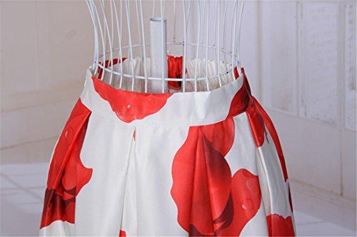 Elegante Flor Roja Las Mujeres Imprimen Una Linea Plisada Ol Faldas De Cintura Alta Midi Blanco