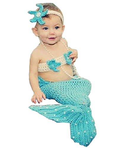Pinbo Newborn Baby Girls Mermaid Headband Bra Tail Crochet Knit Photography Prop