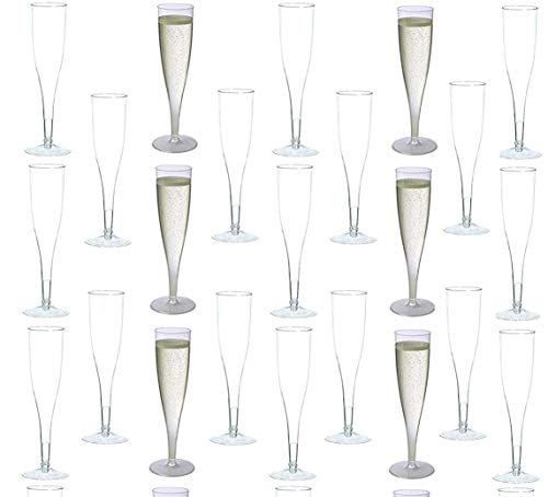 Wedding Party Toasting Flute - 30 pc Clear Plastic Classicware Glass Like Champagne Wedding Parties Toasting Flutes