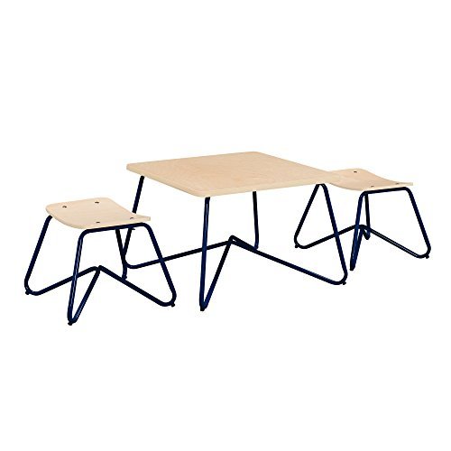 Ace Casual Kids Kellan Mixed Material Table & Stool Set, Navy, One Size