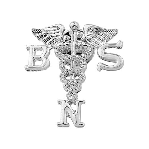Zuo Bao Nurse Jewelry BSN MSN Brooch Label Pin Registered Nurse Doctor Emblem Pin Medicine Caduceus Angel Nursing Bachelors of Science in Nursing (BSN Brooch pin)