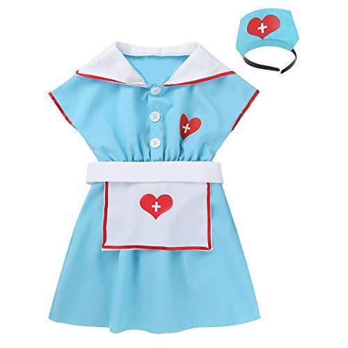 YiZYiF Children Kids Little Doctor Role Play Lab Coat Costume and Accessory Dress-Up Set (7 pcs) (4-6, Blue Dress Set) -