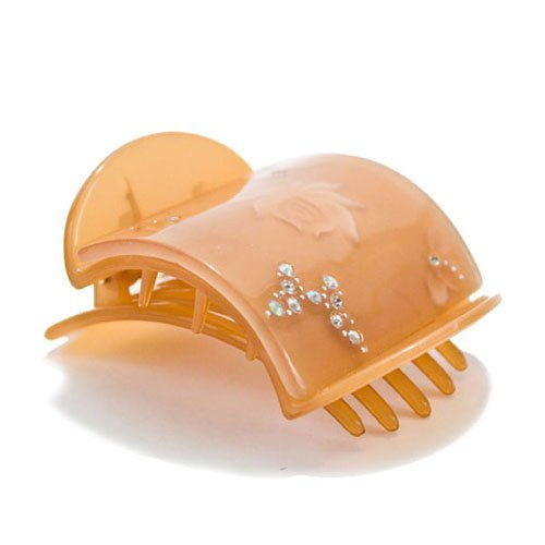 Mia Super Clamp, Strong Jaw Clamp, Updo French Twist Hair Clip Barrette, Comfortable Contoured Fit, Decorative Back, Hidden Spring, Medium Size, Peach Tortoise W/Rhinestones, For Women and Girls 1pc