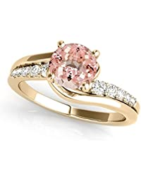 98fda099ff5514 1.15 Ct. Halo Morganite And Diamond Engagement Ring Crafted In 14k Solid  Rose, White