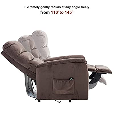 BONZY Lift Recliner Contemporary Power Lift Chair Soft and Warm Fabric with Remote Control for Gentle Motor – Chocolate