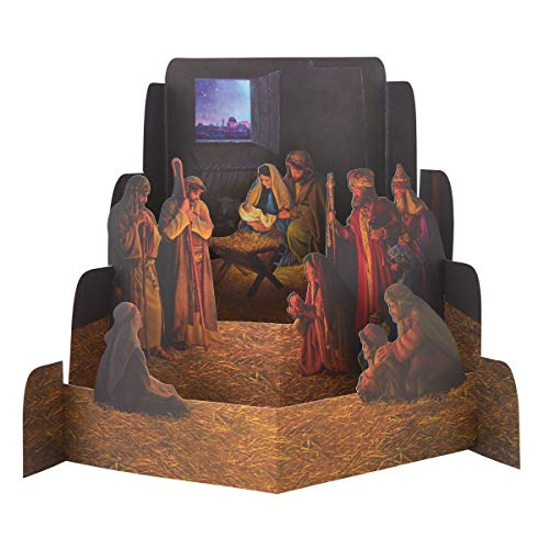 Paper Nativity Set by Greg Olsen, Nativity Scene Diorama, Christmas Decoration (Small)