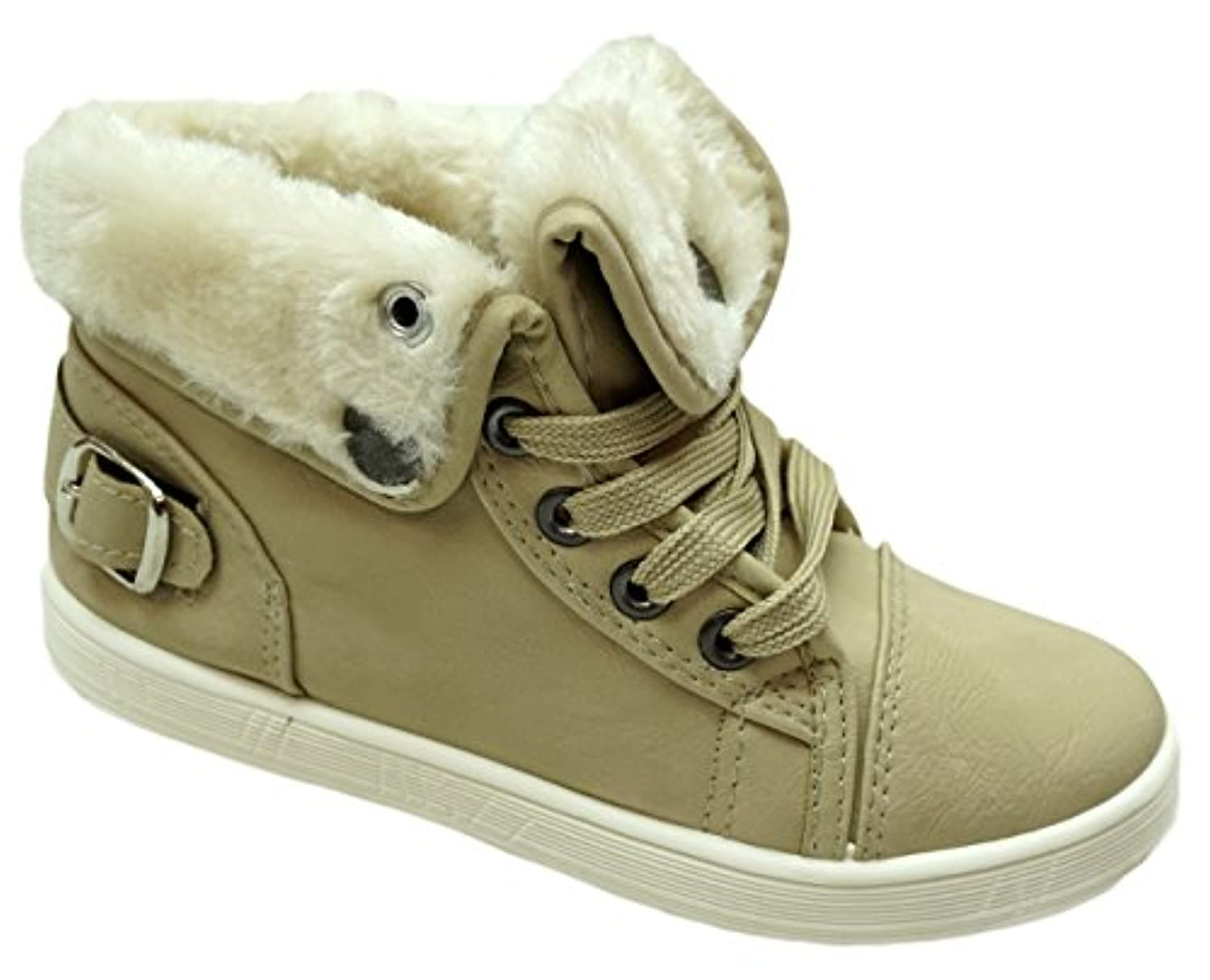 Boys Girls Faux Fur Buckle High Top Trainer Ankle Boot Shoes sizes EU 28-33 (UK 10-2)