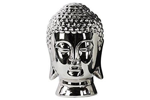 (Urban Trends Ceramic Buddha Head with Rounded Polished Chrome Finished Ushnisha, Silver)