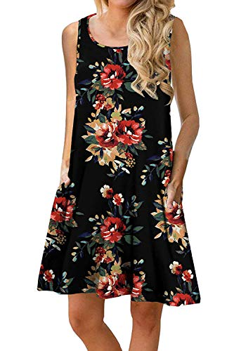 (Genhoo Women Summer Dresses Casual Loose Floral Print Tank Dress Black Flower)