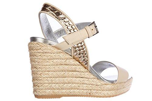 Hogan compensées escarpins chaussures sandales femme cuir h266 vintage beige