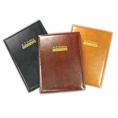 A - Z Index Leather Cover Executive Padded Address Book Assorted Colours & Size Tallon
