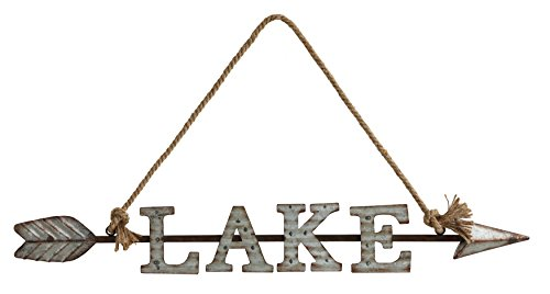 Cheap Creative Co-op Metal Wall Décor Rope Hanger 30″ Rustic Lake Sign a Pointing Arrow, Grey