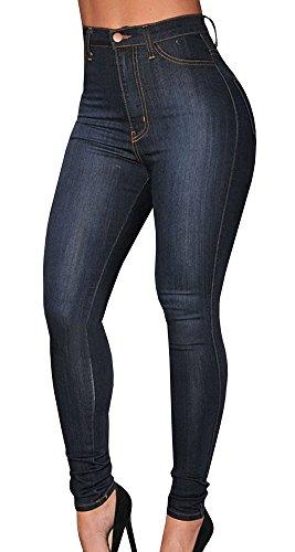 Ermonn Women's High Waist Denim Skinny Jeans Stretch Comfy Pants (X-Large, Dark Blue)
