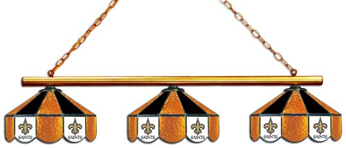 New Orleans Saints Stained Glass - Imperial Officially Licensed NFL Merchandise: Tiffany-Style Stained Glass Billiard/Pool Table 3 Shade Light, New Orleans Saints