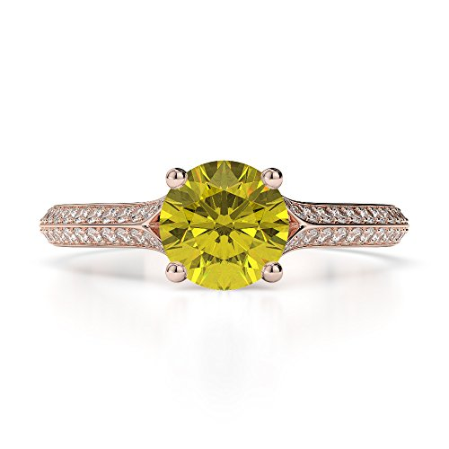 Or Rose 18carats 1CT G-H/VS sertie de diamants ronds Cut Saphir Jaune et bague de fiançailles Agdr-1200