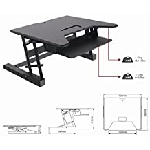"EZRiser36 Height Adjustable Sit/Stand Desk Computer Riser, Dual Monitor Capable, 36"" wide with Keyboard Tray - Black Finish"