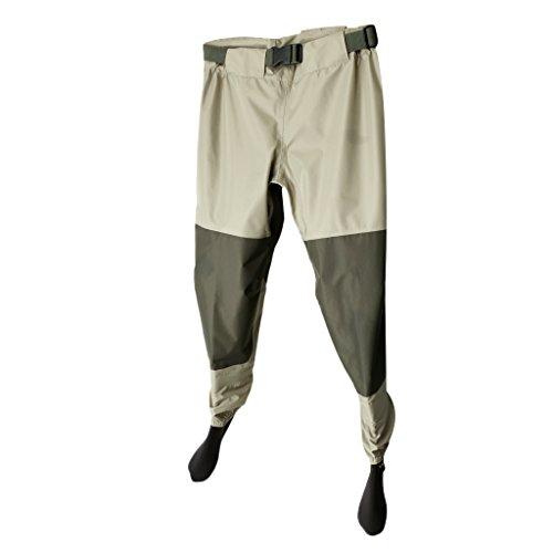 MonkeyJack Breathable Waterproof Fishing Pants Elastic Waist Thigh Waders Boot-foot Tackle - XXL